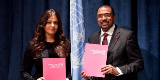 Aishwarya Rai Bachchan and UNAIDS Executive Director Michel Sidibé pictured during the 67th United Nations General Assembly in New York. Bachchan has been appointed as the international goodwill ambassador for UNAIDS
