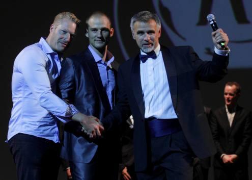 Peter Eriksen (Sweden) Manhunt International 1998 year winner, Manhunt Estonia 2012 winner - Martin Mander with Leo