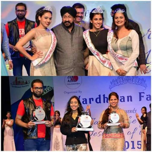 The owner and Founder of Zen Asia Foundation - Chattursingh M Khalsa with Face of The Year winners(Top) and Designer of the Year winners(Bottom)