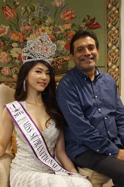 Miss Supranational Japan 2016, Lisa Nagashima with Mr. Kayapan Satya Dharshan, the Founder and Chairman of Dermozone and the main sponsor of MSJ 2016