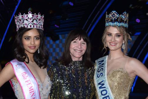 Miss India World 2016 with Miss World CEO Julia Morley and Miss World 2016 Mereia Lalaguna