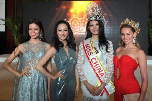 Winners of Miss China 2015, 2014 and 2016 with reigning Miss Grand International Claire Parker