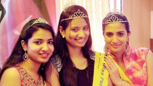 Miss Perfect AP winner Nisha Yella (left) with 1st runners up Anjana Prabhu and 2nd runners up Triveni Rao after winning their titles, in Visakhapatnam on Monday