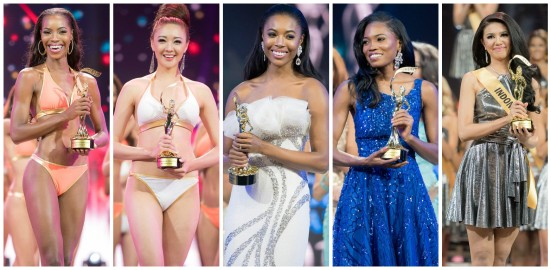 L - R: Bahamas (Best in Swimsuit), Korea (Popular Vote), England (Best in Evening Gown), Jamaica (Best in Social Media) and Indonesia (Best in National Costume)