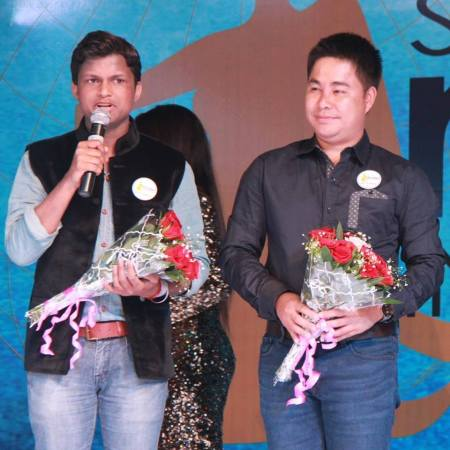 Sandeep Kumar with the owner of Supermodel International contest, Pradit Pradinunt during Supermodel International 2016 in India.