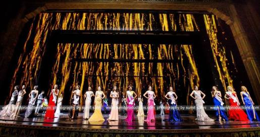 Candidates of Supermodel International 2016 during the evening gown competition during the grand ffinale of the pageant at Kingdom of Dreams